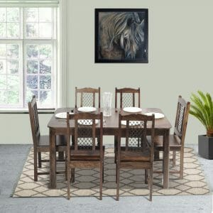 Nadia XL - Thames 6 Seater Sheesham Wood Dining Set in Provincial Teak Finish