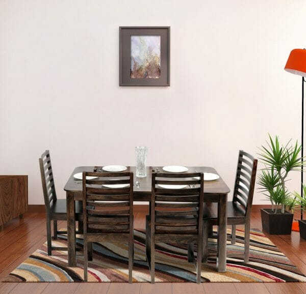 Nadia Stripe 4 Seater Solid Wood Dining Lifestyle