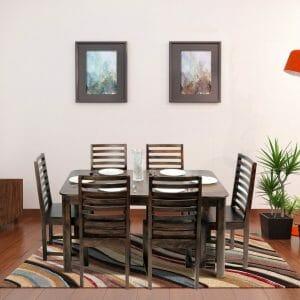 nadia stripe 6 seater solid wood dining set