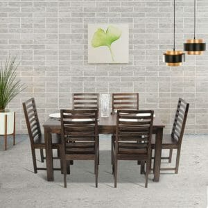 Stirling Stripe 6 seater solid wood dining table set lifestyle