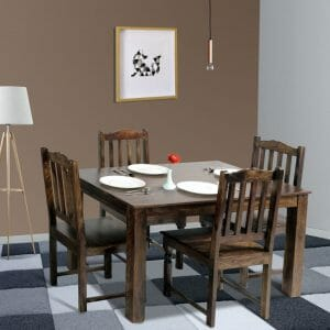 Seattle Rawat 4 seater solid wood dining set