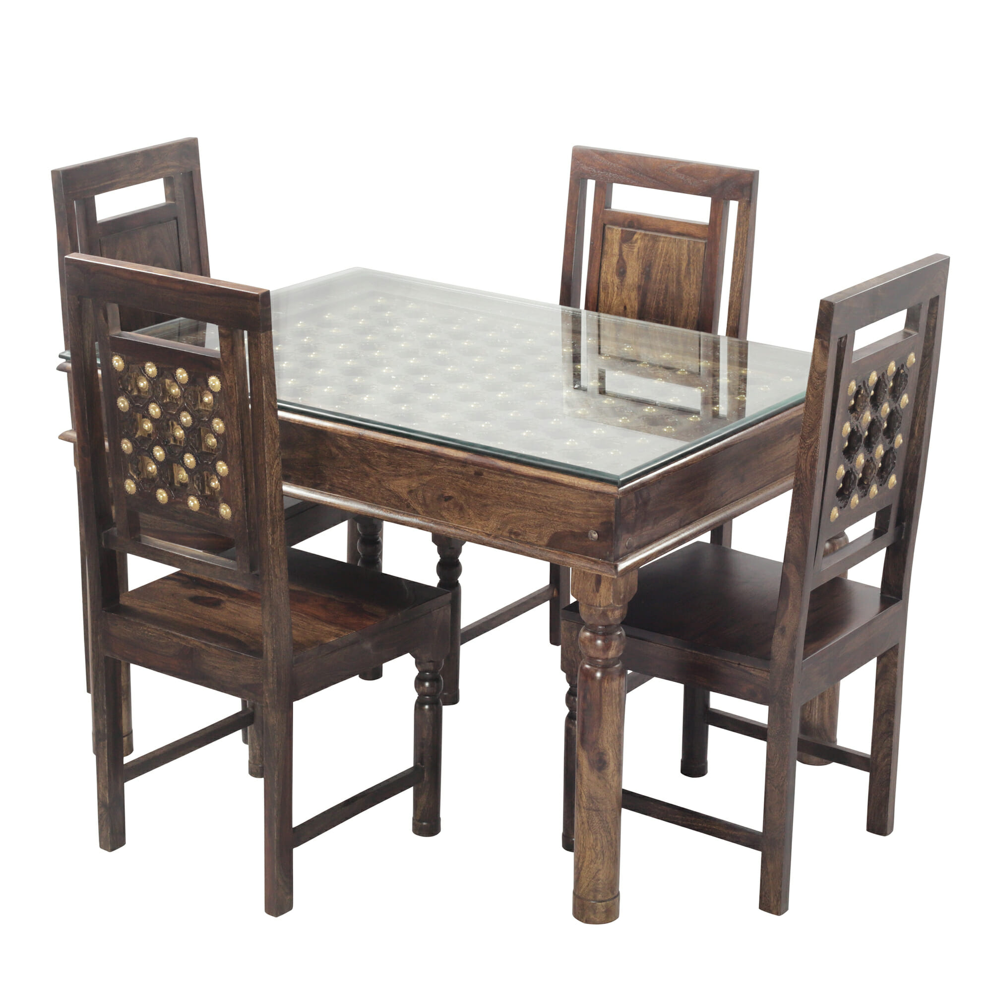 Bodhi Solid Wood 4 Seater Dining Set In Provincial Teak