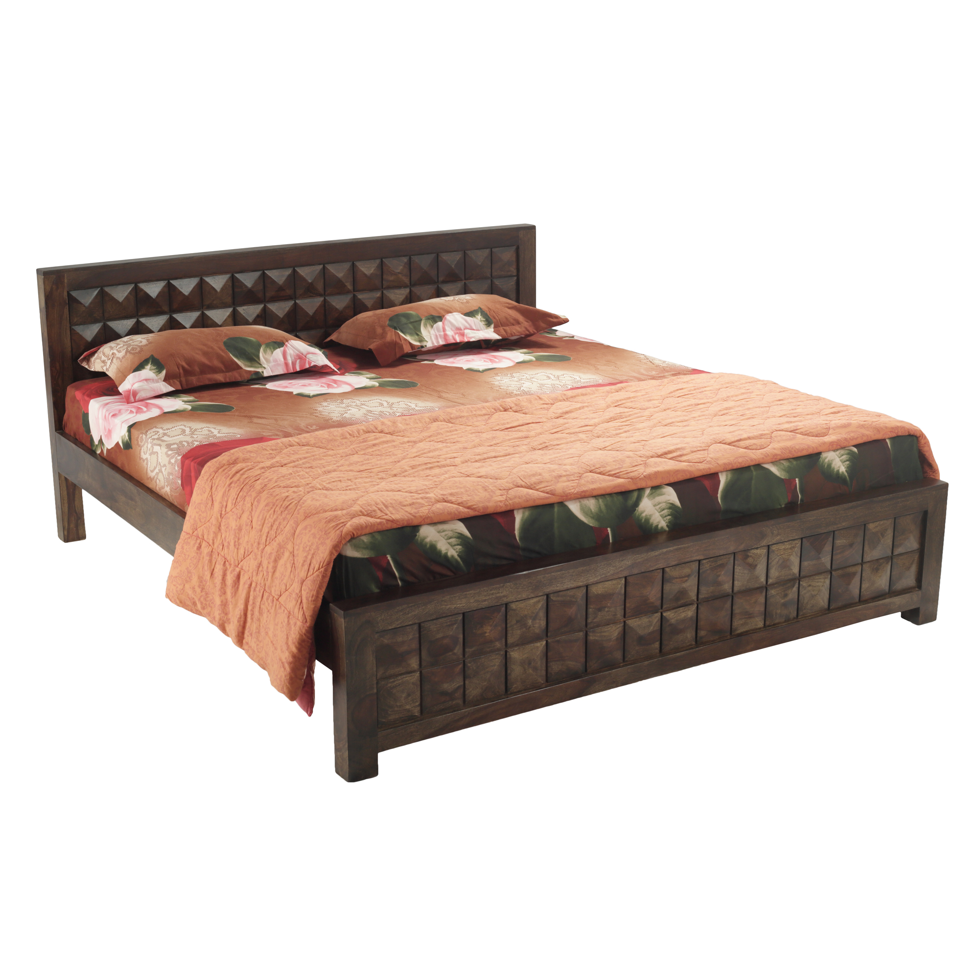 Eiffel Solid Wood King Size Bed in Provincial Teak Finish