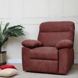 Liana Fabric Manual Recliner (Finish Color-Brown)