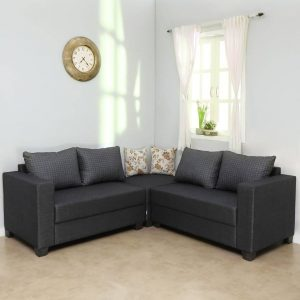 Lisa Fabric 5 Seater Sofa (Finish Color - Brown)