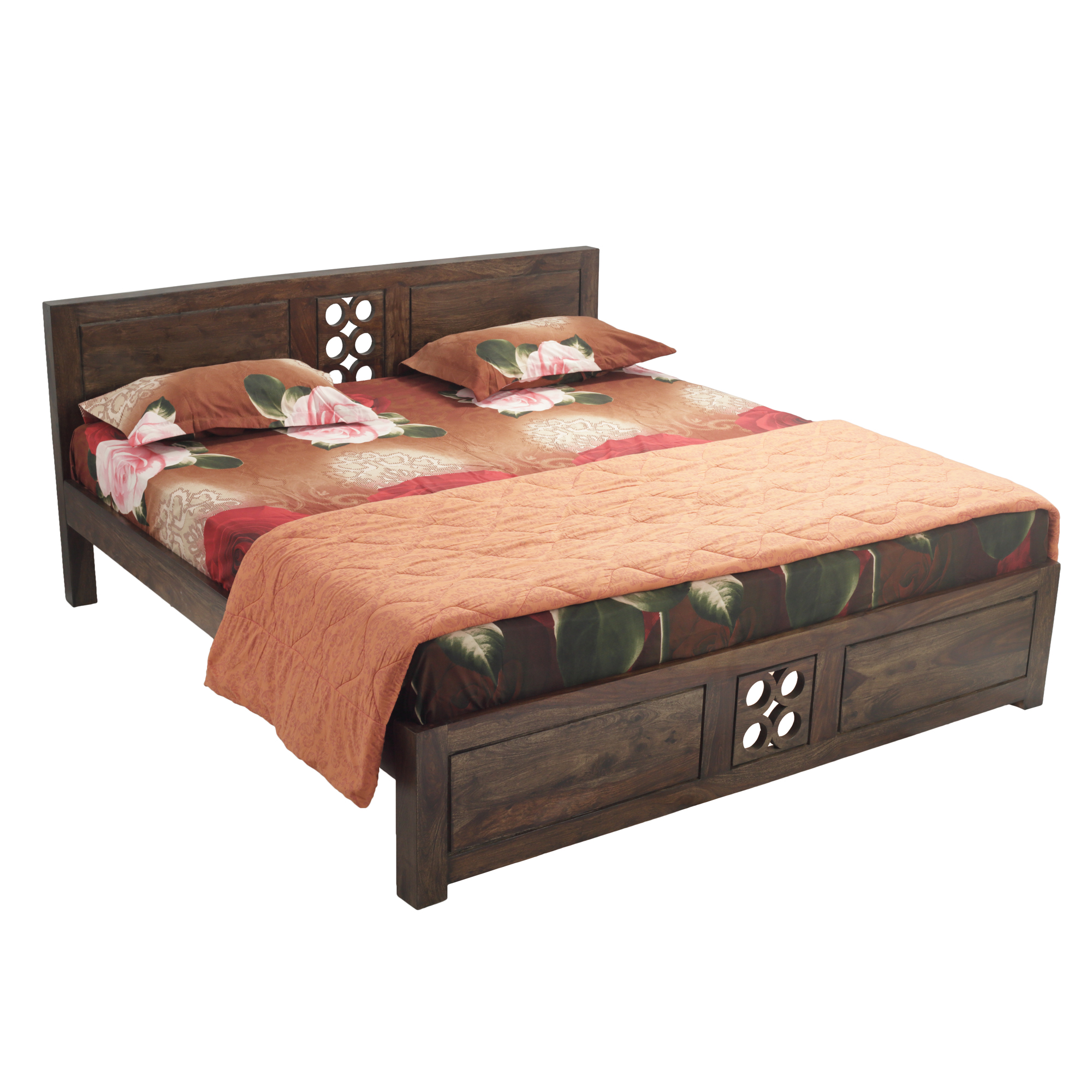 Opera Solid Wood King Size Bed in Provincial Teak Finish