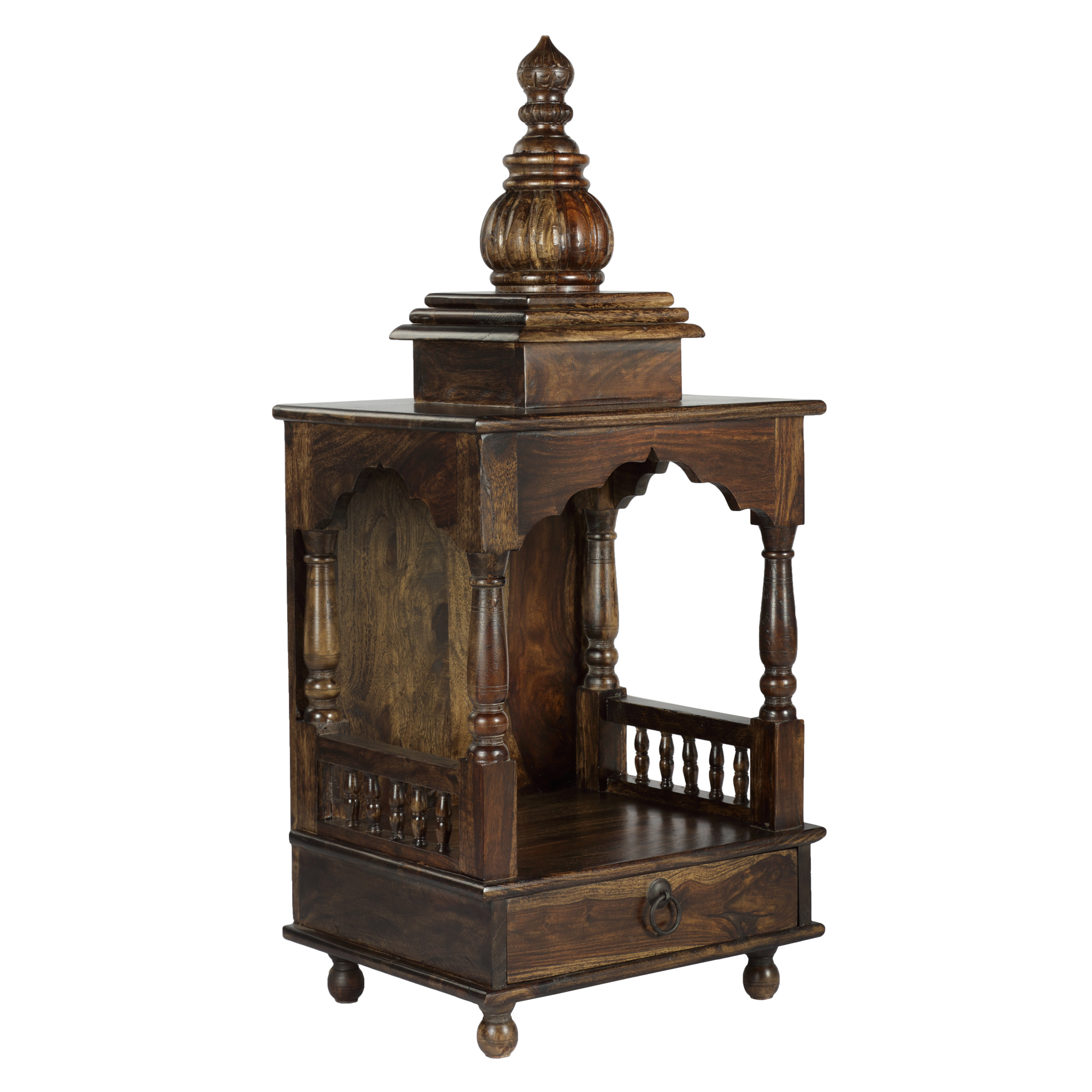 Punya Solidwood Pooja Mandir in Provincial Teak Finish