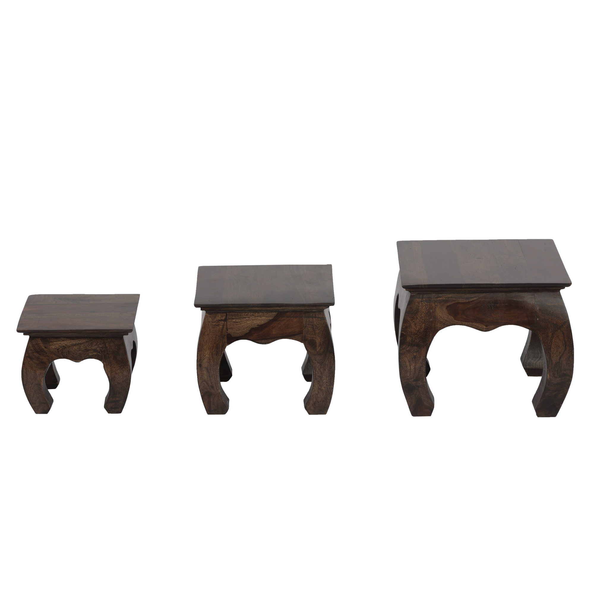 Ved Solidwood Stools (Set of 3) in Provincial Teak Finish