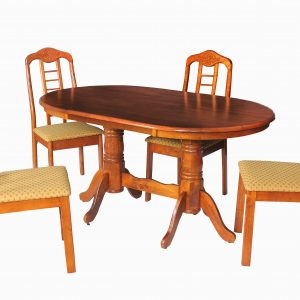 Indra Solid Wood 4 Seater Dining Table Set