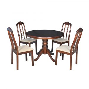 Kate Solid Wood 4 Seater Dining Table Set