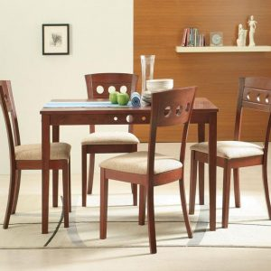 Lyon Solid Wood 4 Seater Dining Table Set