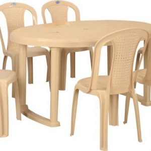 Nilkamal Grand Oval Plastic 6 Seater Dining Set