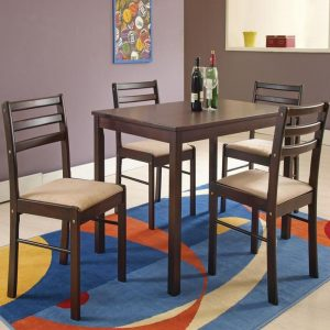 Vincent Solid Wood 4 Seater Dining Table Set