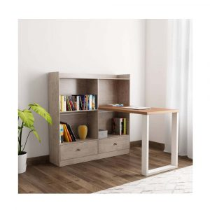Woodness Chicago Engineered Wood Office Table (Free Standing, Finish Color - Grey Oak)
