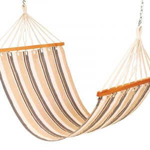 Drake cotton fabric outdoor hammock swing (Finish - Beige Stripes)