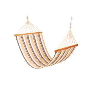 Drake cotton fabric outdoor hammock swing (Finish - Beige Stripes)