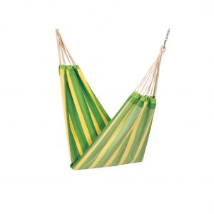 Apia Cotton Fabric Brazilian Hanging Hammock (Green Stripes)