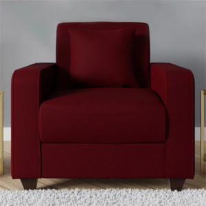 Buy Naples One Seater Sofa in Garnet Red Colour Online