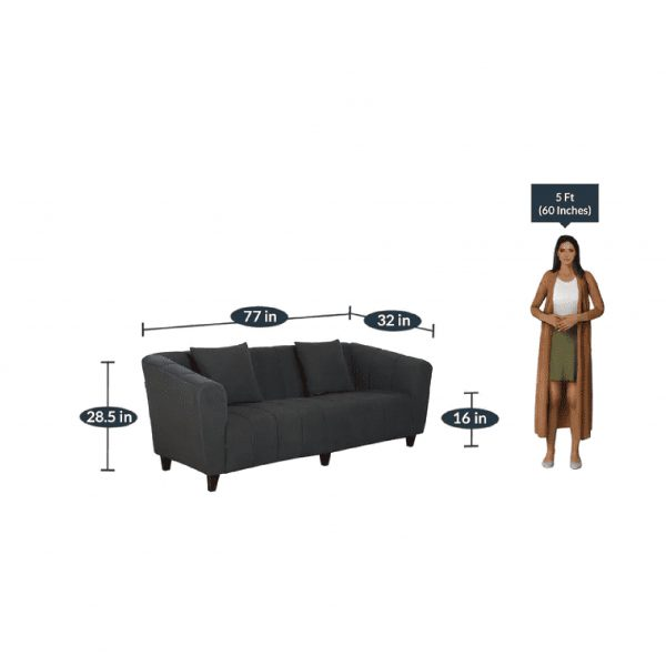 Buy Bobbio Three Seater Sofa in Grey Colour Online
