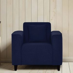 Buy Faenza One Seater Sofa in Navy Blue Colour Online