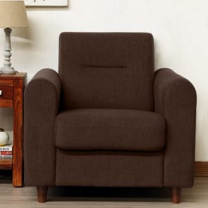 Buy Nola One Seater Sofa in Chestnut Brown Colour Online