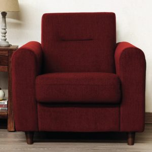 Buy Nola One Seater Sofa in Garnet Red Colour Online