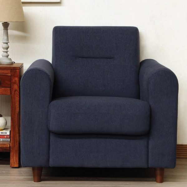 Buy Nola One Seater Sofa in Navy Blue Colour Online