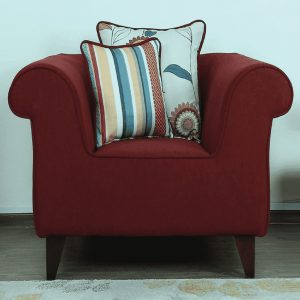 Buy Salerno One Seater Sofa in Garnet Red Colour Online