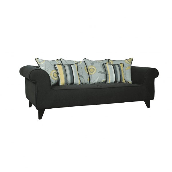 Buy Salerno Three Seater Sofa in Charcoal Grey Colour Online