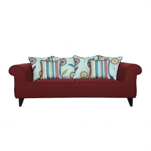 Buy Salerno Three Seater Sofa in Garnet Red Colour Online