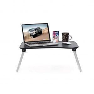 Calips Foldable Wood Portable Black Laptop Table
