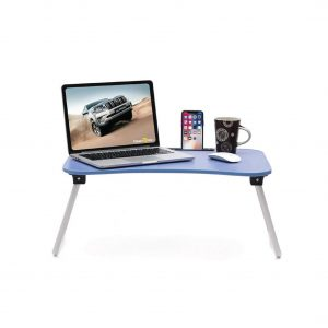 Calips Foldable Wood Portable Blue Laptop Table