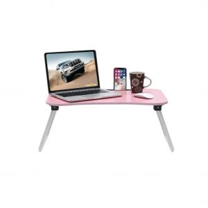 Calips Foldable Wood Portable Pink Laptop Table