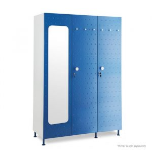Crewe Blue Mirror Dot 3 door Steel Wardrobe