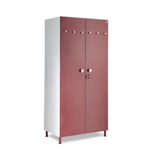 Crewe Burgundy Dot 2 door Steel Wardrobe