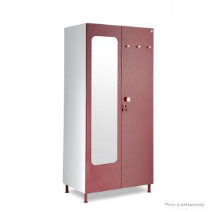Crewe Burgundy Mirror Dot 2 door Steel Wardrobe
