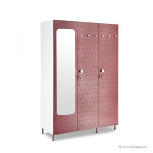 Crewe Burgundy Mirror Dot 3 door Steel Wardrobe