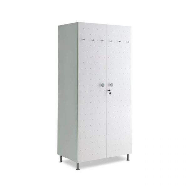 Crewe Light Grey Dot 2 door Steel Wardrobe