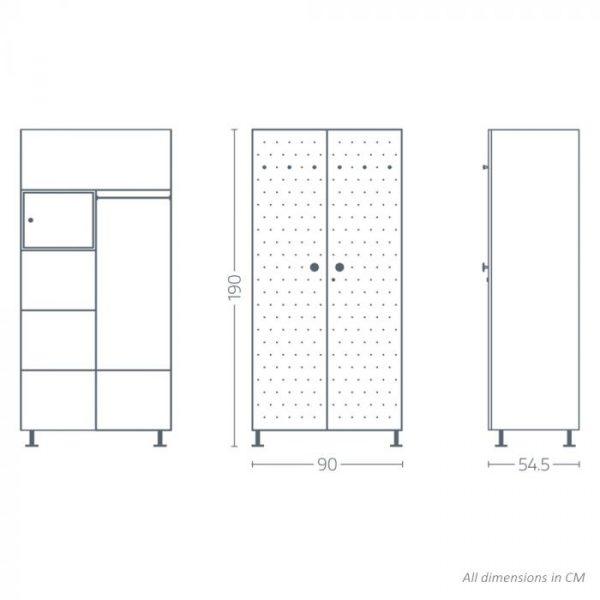 Crewe White Dot 2 door Steel Wardrobe