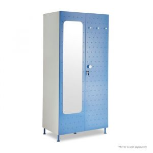 Crewe Blue Mirror Dot 2 door Steel Wardrobe