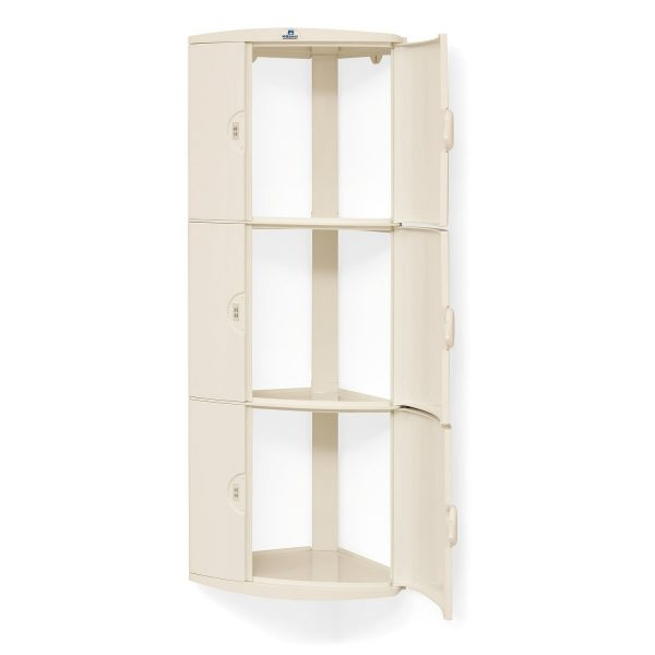 Nilkamal 3 Door Maroon Corner Wall Cabinet