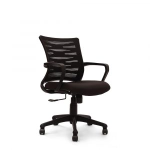 Poges Black Fixed Armrest Chair