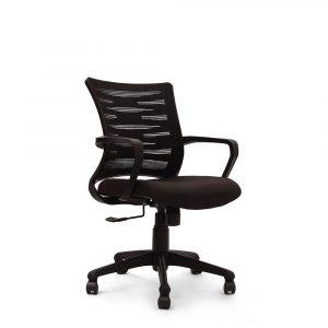 Poges Black Fixed Armrest Chair