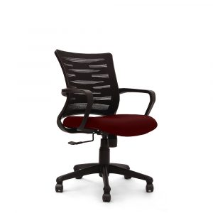 Poges Maroon Fixed Armrest Chair
