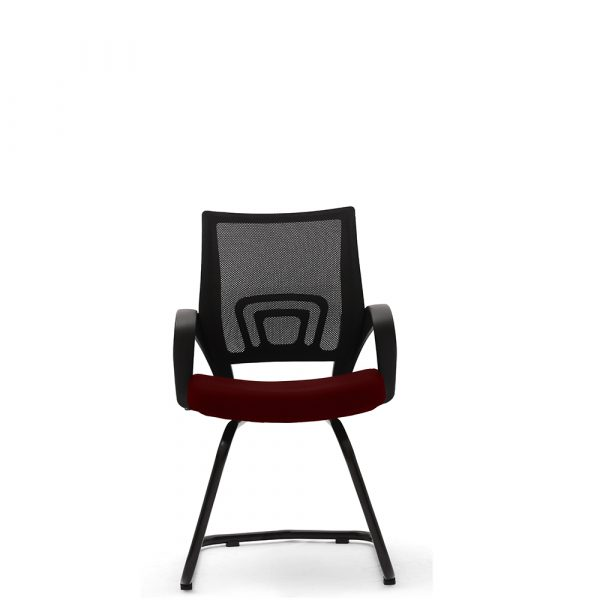 Ramsey Maroon Fixed Armrest Visitor Chair
