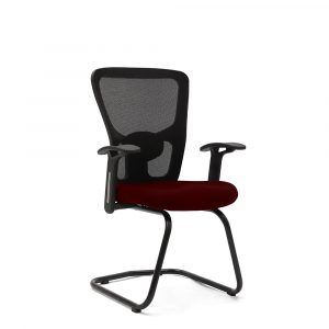 Wisbech Maroon Fixed Armrest Visitor Chair