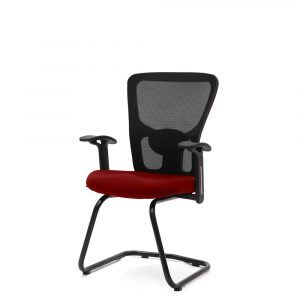 Wisbech Red Fixed Armrest Visitor Chair