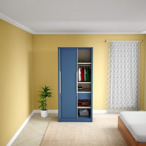 Godrej Interio Slide N Store Compact Plus 2-Door Wardrobe (Phiroja Blue)