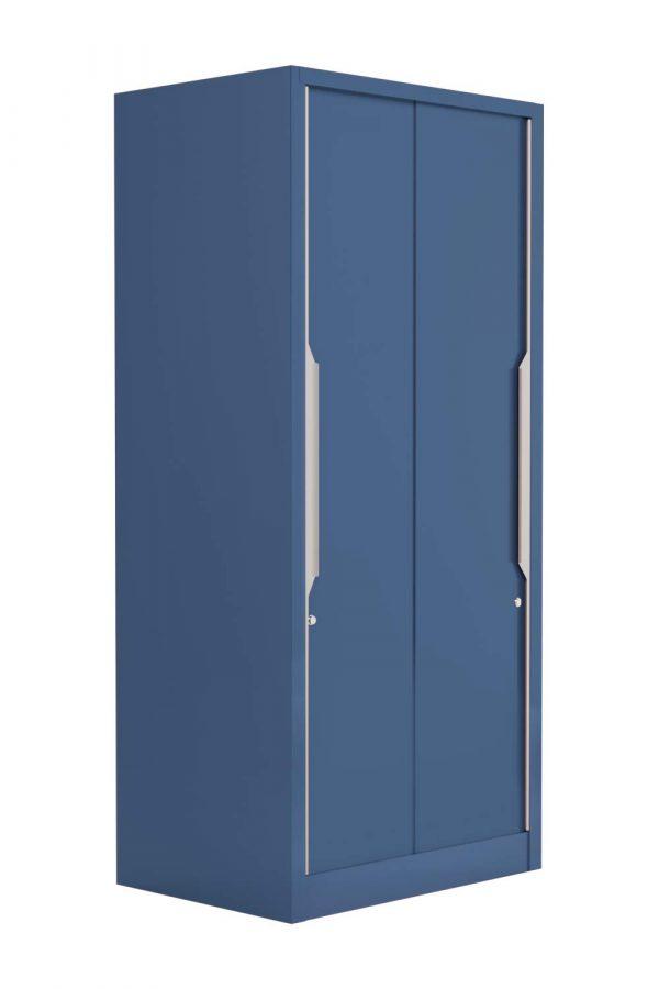 Godrej Interio Slide N Store Compact Plus 2-Door Wardrobe (Phiroja Blue)
