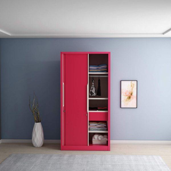 Godrej Interio Slide N Store Compact Plus 2-Door Wardrobe (Tex Blush Red)